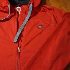 adidas giacche & cappotti mens rosso con cappuccio la giacca sportiva davanti